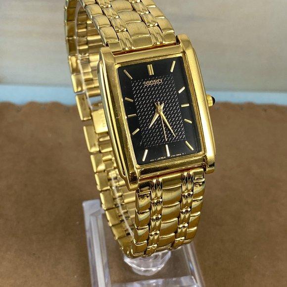 Seiko Other - Vintage Seiko Tank Gold Watch With Black Dial